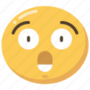 emoji, emoticon, expression, really, shock, shocked icon
