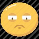 emoji, emoticon, exhausted, sad, sadness, tired icon