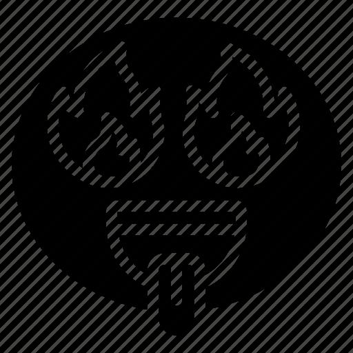emoji, emoticon, eyes, fire, flame, hot icon