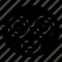 emoji, emoticon, glasses, happy, nerd, smile icon