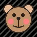 bear, blushed, emoji, gomti, shy icon