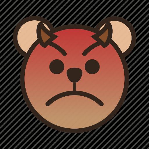 angry, bear, devil, emoji, evil, gomti, upset icon