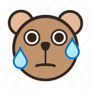 bear, confused, embarrased, emoji, gomti, nervous, sweating icon
