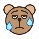 bear, color, embarrassed, emoji, gomti, sweating