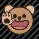bear, emoji, gomti, hello, hi, hi five