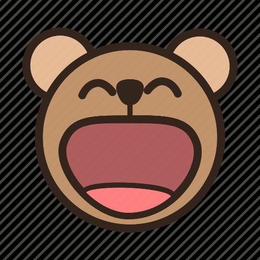 Bear, emoji, gomti, happy, laugh, laughing, smile icon - Download on Iconfinder