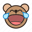bear, color, emoji, gomti, laughing, laughing with tear, tear icon