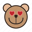 bear, emoji, gomti, heart, in love, like, loving icon