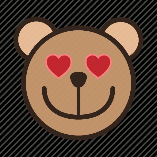 bear, emoji, gomti, heart, in love, like, loving icon