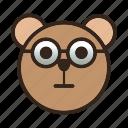bear, color, emoji, glasses, gomti, nerd icon