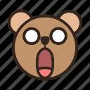 bear, color, emoji, gomti, panic, shocked, surprised