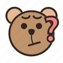 bear, curious, emoji, gomti, mysterious, question, unaccountable icon