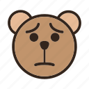 bear, color, emoji, gomti, sad, unconfortable, upset