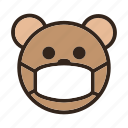 be quiet, bear, calm, emoji, gomti, mask, silent icon