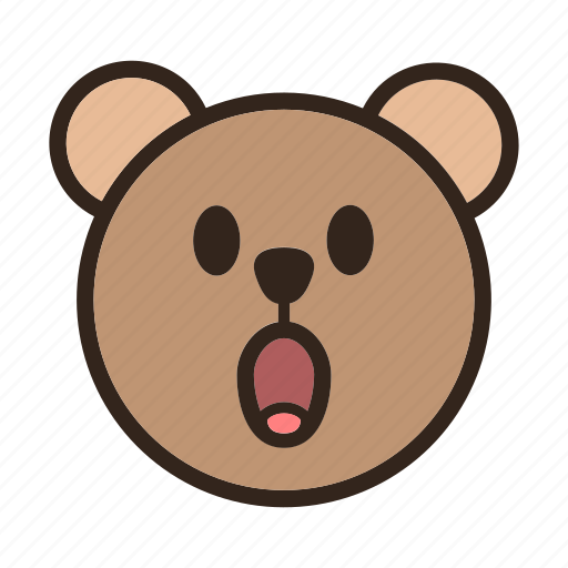 bear, emoji, gomti, surprised icon
