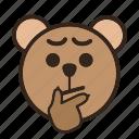 bear, color, considering, emoji, gomti, thinking