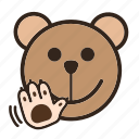 bear, bye, color, emoji, gomti, wave icon