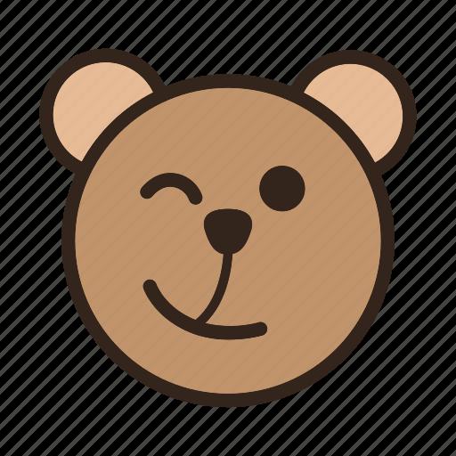 bear, color, emoji, gomti, signal, wink icon