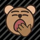 bear, bored, color, emoji, gomti, yawning icon