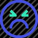 angry, avatar, emoji, emotion, face icon