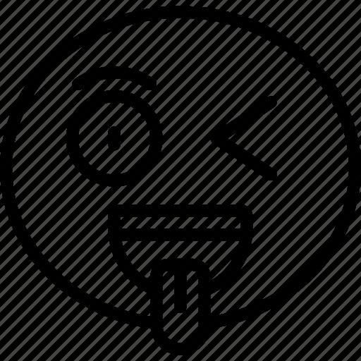 emoji, emoticon, happy, tongue, wink, winking icon