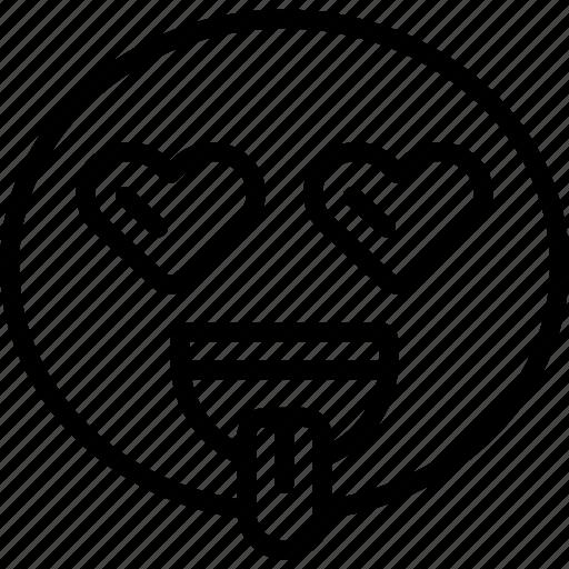emoji, emoticon, heart, hearteyes, lust, tongue icon