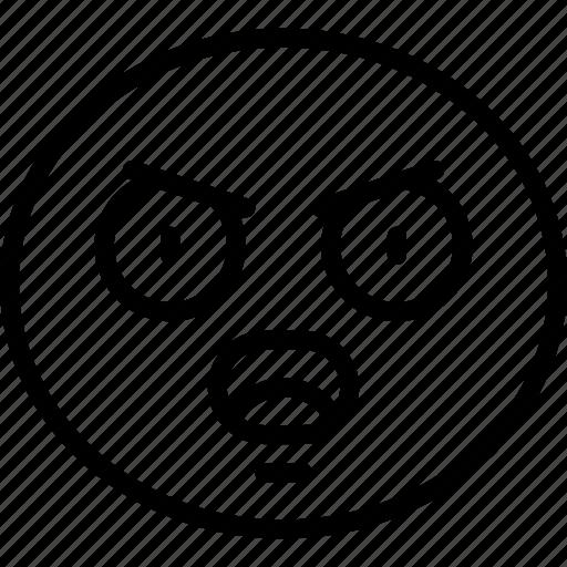 annoyed, emoji, emoticon, shock, surprise, surprised icon