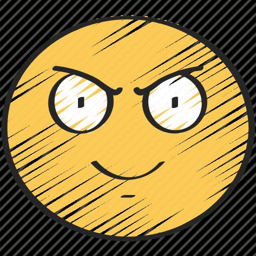 emoji, emoticon, evil, eyebrows, grin, scowl icon