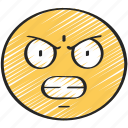 anger, angry, annoyed, emoticon, face, frown icon