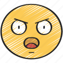 annoyed, emoji, emoticon, shock, surprise, surprised icon