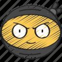 emoji, emoticon, face, ninja, ninjas, smirk