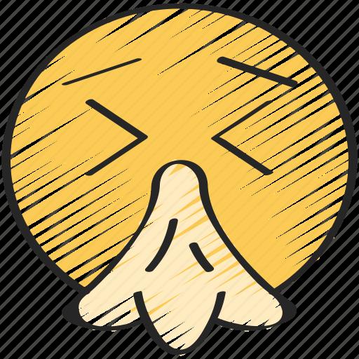 emoji, emoticon, flu, sick, sneeze, tissue icon