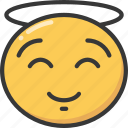 angel, emoji, emoticon, happiness, happy, smile, smiling icon