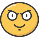 emoji, emoticon, evil, eyebrows, grin, scowl icon