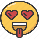 emoji, emoticon, heart, hearteyes, lust, tongue icon