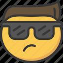 cool, emoji, emoticon, face, hair, sunglasses icon