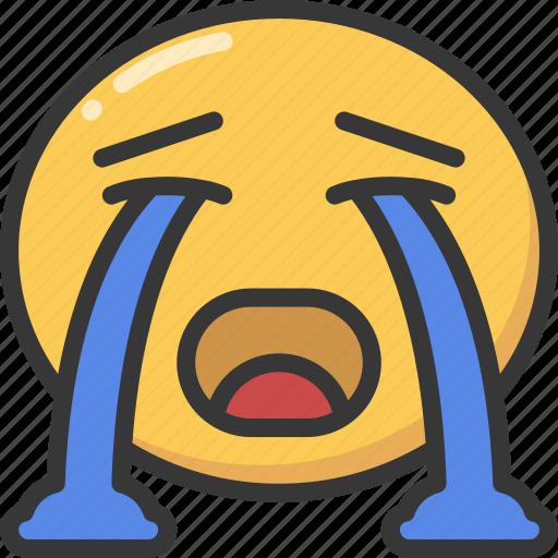 cry, crying, emoji, emoticon, emotional, sad icon