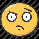 curious, emoji, emoticon, face, suspicion, suspicious icon