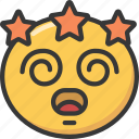 dizzy, emoji, emoticon, spiral, star, stars icon