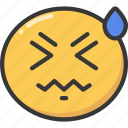 emoji, emoticon, face, headache, sick, sweat icon