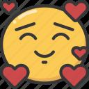 emoji, emoticon, happy, hearts, in, love, loved icon