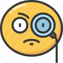 curious, detective, emoji, emoticon, glass, magnifying