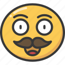 emoji, emoticon, happy, moustache, movember, smile icon
