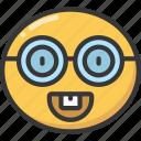 emoji, emoticon, glasses, happy, nerd, smile
