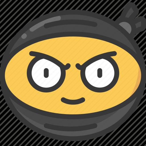 emoji, emoticon, face, ninja, ninjas, smirk icon