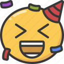 celebrate, confetti, emoji, emoticon, happy, party icon