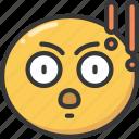 emoji, emoticon, explanation, expression, point, serious