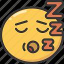 emoji, emoticon, expression, sleep, sleeping, snore icon
