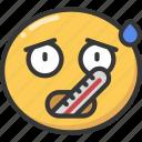 emoji, emoticon, fever, sick, temperature, thermomoter icon