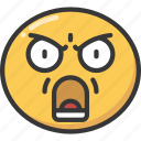 anger, angry, emoji, emoticon, shout, shouting icon
